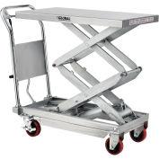 "20"" x 35-3/4"" Stainless Steel Mobile Scissor Lift Table, 800 Lb. Cap."