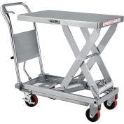 "19-3/4"" x 32"" Stainless Steel Mobile Scissor Lift Table, 1000 Lb. Cap."