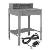 """Flat Top Shop Desk w Pigeonhole Compartments & Electrical Outlets, 34-1/2""""W x 30""""D, Gray"""