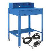 "34-1/2""W x 30""D x 38""H Shop Desk with Pigeonhole Riser, Electrical Outlets, Flat Surface, Blue"