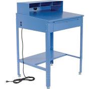 "34-1/2""W x 30""D x 38""H Shop Desk with Pigeonhole Riser, Electrical Outlets, Sloped Surface, Blue"