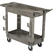 "Plastic 2 Shelf Service Cart with Ladder Holder and Utility Hooks, 38""L x 17-1/2""W x 32-1/2""H"
