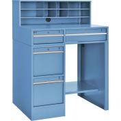 "38""W x 29""D x 51""H Pedestal Shop Desk, 4 Drawers & Shelf, Blue"
