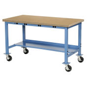 "Mobile Workbench with Power Apron, Shop Square Edge, 48""W x 30""D, Blue"