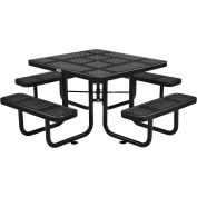 """46"""" Square Perforated Metal Outdoor Picnic Table, 81""""W x 81""""D Overall, Black"""