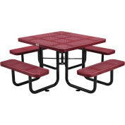 """46"""" Square Perforated Metal Outdoor Picnic Table, 81""""W x 81""""D Overall, Red"""