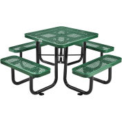 """36"""" Square Expanded Metal Outdoor Picnic Table, 69""""W x 69""""D Overall, Green"""