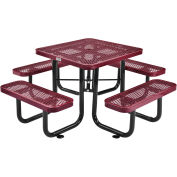 """36"""" Square Expanded Metal Outdoor Picnic Table, 69""""W x 69""""D Overall, Red"""