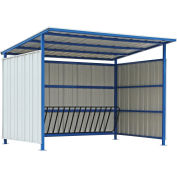 "Bike Storage Shelter with Slant Roof, 16 Bike Capacity, 120""L x 95-1/2""W x 90-1/16""H"
