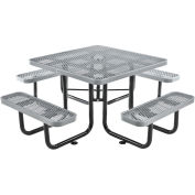 """46"""" Expanded Metal Square Picnic Table, Gray"""