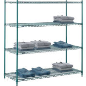 "5 Tier Wire Shelving Starter Unit, 72""W x 24""D x 74""H, Green Epoxy Finish"