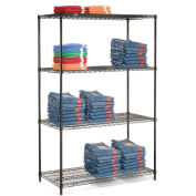 "Nexel 5 Tier Black Epoxy Wire Shelving Starter Unit, 36""W x 21""D x 63""H"