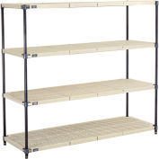 "5 Tier Vented Plastic Shelving, 72""W x 24""D x 63""H, Nexelon Finish"