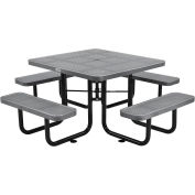 """Global Industrial™ 46"""" Square Outdoor Steel Picnic Table - Perforated Metal - Gray"""