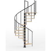 """Hayden 36""""H Platform Rail Spiral Stair Kit, 60"""" Dia, 14'H, Oak Treads, Black, Unassembled"""