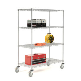 Wire Shelf Truck With Brakes, 60x18x69, 1200 Pound Capacity