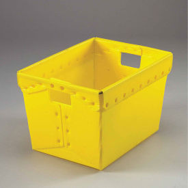 Postal Mail Tote Without Lid, Corrugated Plastic, Yellow, 18-1/2x13-1/4x12 - Pkg Qty 10