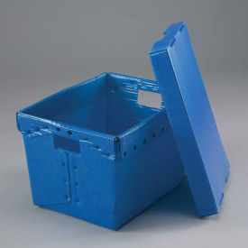 Postal Mail Tote With Lid, Corrugated Plastic, Blue, 18-1/2x13-1/4x12 - Pkg Qty 10