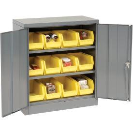 Locking Storage Cabinet With (12) Yellow Removable Bins, 36x18x42