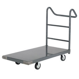 "Platform Truck w/Steel Deck, 5"" Rubber Casters with Ergo Handle, 72 x 36, 1400 Lb. Capacity"