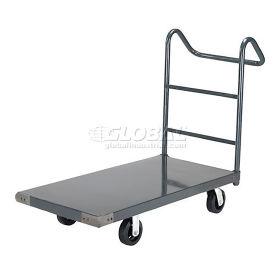 "Platform Truck w/Steel Deck, 6"" Rubber Casters with Ergo Handle, 60 x 30, 2000 Lb. Capacity"