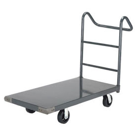 "Platform Truck w/Steel Deck, 6"" Rubber Casters with Ergo Handle, 72 x 36, 2000 Lb. Capacity"