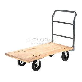 "Platform Truck w/Hardwood Deck, 72 x 36, 2400 Lb. Capacity, 8"" Rubber Casters"
