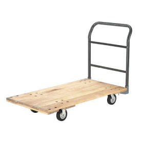 "Platform Truck w/Hardwood Deck, 72 x 36, 1400 Lb. Capacity, 5"" Rubber Casters"