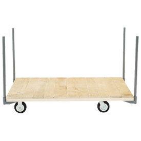 "Stake Handle Platform Truck w/Hardwood Deck, 72 x 36,  5"" Rubber Casters, 1400 Lb. Capacity"