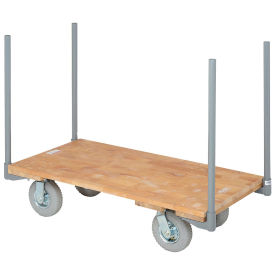 "Stake Handle Platform Truck w/Hardwood Deck, 48 x 24, 8"" Pneumatic Casters, 1200 Lb. Capacity"