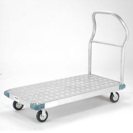 "Platform Truck - Aluminum Diamond Deck, 48 x 24, 1400 Lb. Capacity, 5"" Rubber Casters"