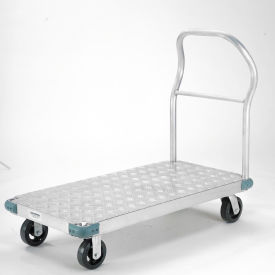 "Platform Truck - Aluminum Diamond Deck, 56 x 42, 2000 Lb. Capacity, 6"" Rubber Casters"
