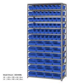 "13 Shelf Steel Shelving with (60) 4""H Plastic Shelf Bins, Blue, 36x18x72"