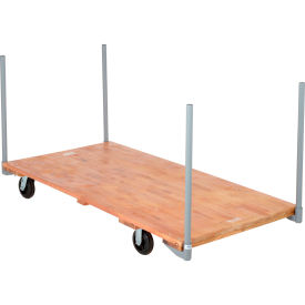 "Stake Handle Platform Truck w/Hardwood Deck, 72 x 36, 6"" Rubber Casters, 2000 Lb. Capacity"