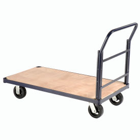 "Steel Bound Platform Truck w/Wood Deck, 60 x 30, 8"" Rubber Casters, 2400 Lb. Capacity"