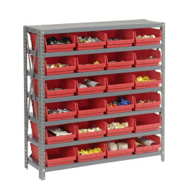 "7 Shelf Steel Shelving with (18) 4""H Plastic Shelf Bins, Red, 36x18x39"