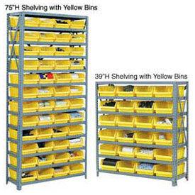"13 Shelf Steel Shelving with (36) 4""H Plastic Shelf Bins, Blue, 36x18x75"