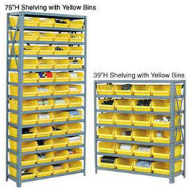 "13 Shelf Steel Shelving with (36) 4""H Plastic Shelf Bins, Yellow, 36x18x75"