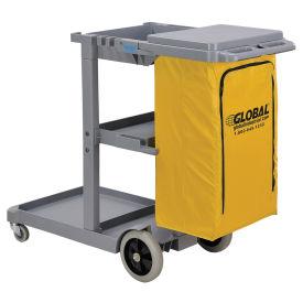 Janitor Cart Gray with 25 Gallon Vinyl Bag