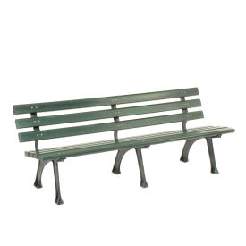 6'L Park Bench With Backrest, Recylced Plastic, Green