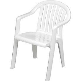 Resin Lowback Stacking Outdoor Armchair - White - Pkg Qty 4