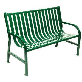 Slatted Metal Bench, Green, 4'L