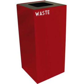 Witt Industries 32GC03-SC Steel Recycling Container with Waste Disposal Opening, 32 Gallon Cap, Red