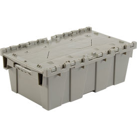 Distribution Container With Hinged Lid, 19-5/8x11-7/8x7, Gray