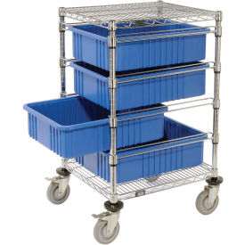 "Chrome Wire Cart With 4 6""H Grid Blue Containers, 21X24X45"