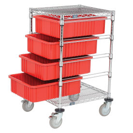 """Chrome Wire Cart With 4 6""""H Grid Red Containers, 21X24X45"""