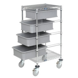 "Wire Cart With (4) 6""H Gray Grid Containers 21"" x 24"" x 45"""