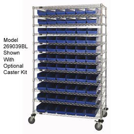 "Wire Shelving with (176) 4""H Plastic Shelf Bins Blue, 24x72x74"
