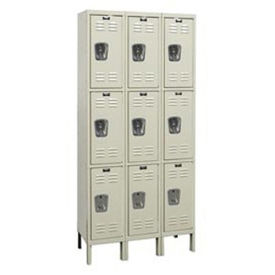 "HALLOWELL 3-Tier Galvanite Corrosion-Resistant Locker - 12x12x24"" Opening - 3 Lockers Wide - Set-Up"