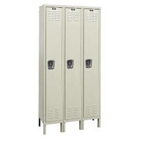 "HALLOWELL 1-Tier Galvanite Corrosion-Resistant Locker - 12x15x72"" Opening - 3 Lockers Wide - Set-Up"